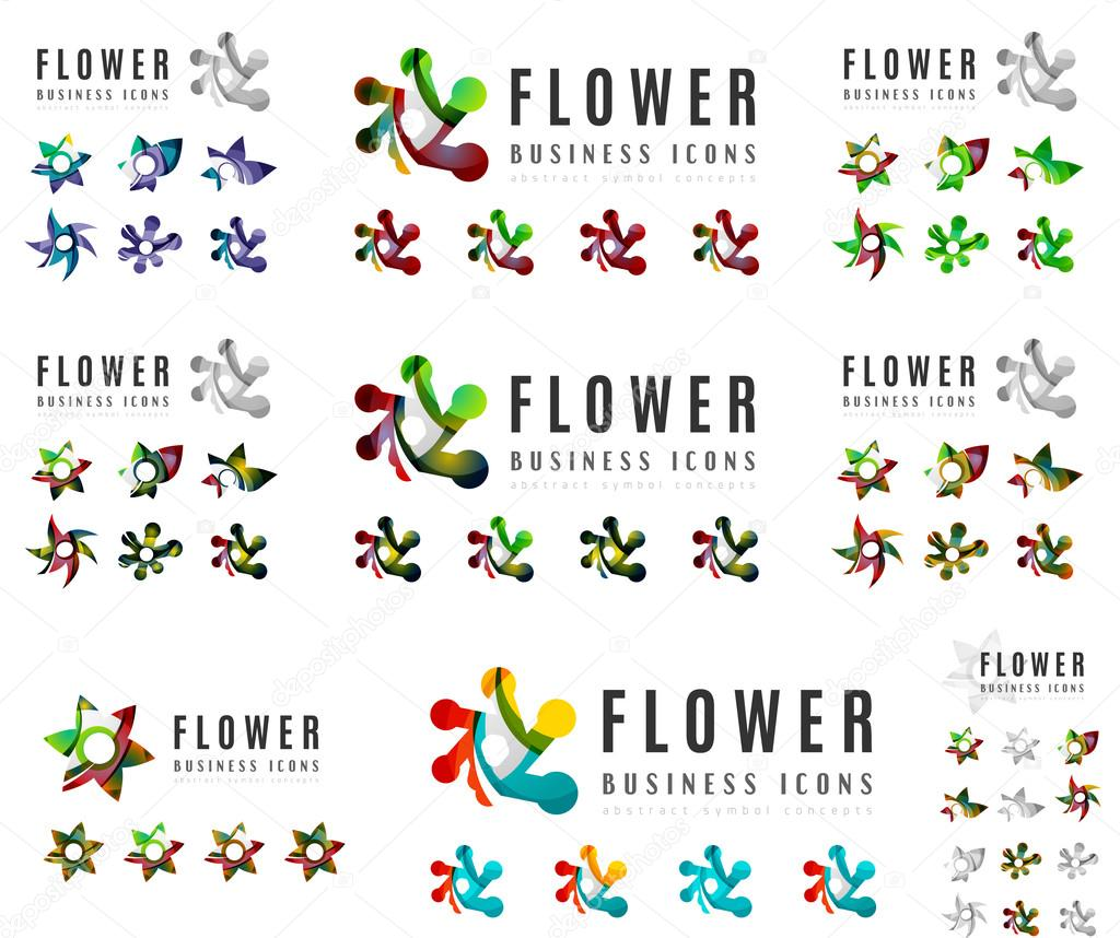 Set of company logotype branding designs, flower blooming concept icons
