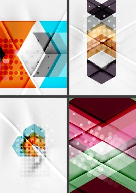 Set of angle and straight lines design abstract backgrounds. Geometric shapes, triangles and arrows with light effects stock vector