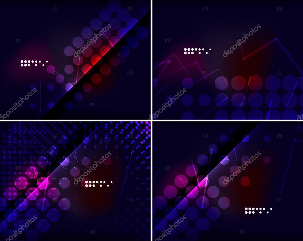Leuchtende Farbe satz von abstrakt mit exemplar. leuchtende farbe neon-licht im