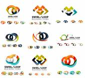 Nastavení společnosti logotyp značky vzorů, vířit nekonečna opakovat koncept ikony izolované na bílém