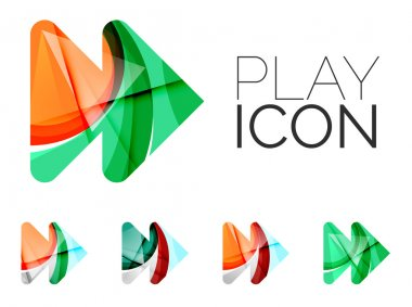 Set of abstract next play arrow icon, business logotype concepts, clean modern geometric design