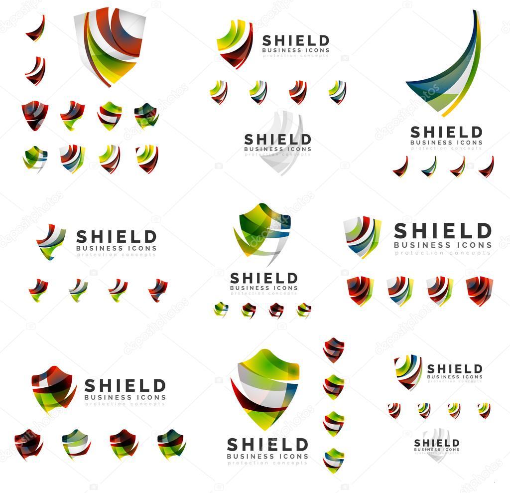 Set van bedrijf logo huisstijl ontwerpen, schild bescherming