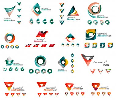 Set of various geometric icons -  rectangles triangles squares circles or swirls, created with flowing wavy elements