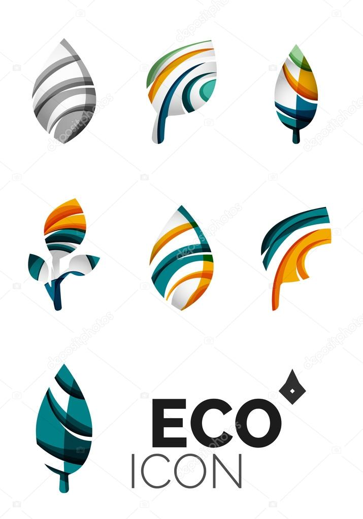 Set of abstract eco leaf icons, business logotype nature concepts, clean modern geometric design