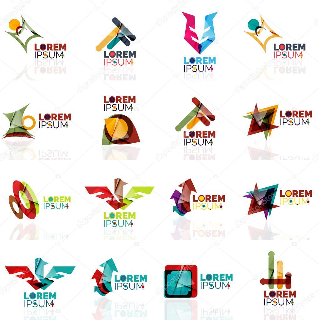 Amante Formes géométriques set, papier origami style de logo d'entreprise &UU_96