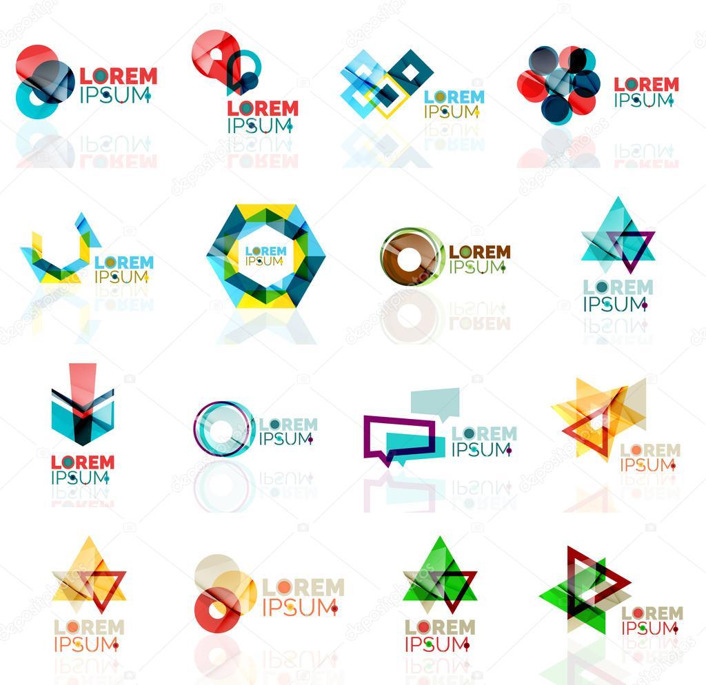 Geometric shapes company logo set, paper origami style ... - photo#44