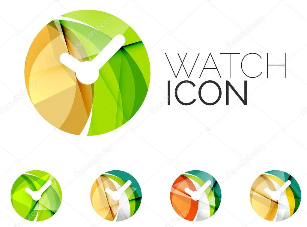 Set van abstracte horloge pictogram business logo concepten schoon set van abstracte horloge pictogram business logo concepten schoon moderne geometrisch ontwerp stockvector ccuart Images