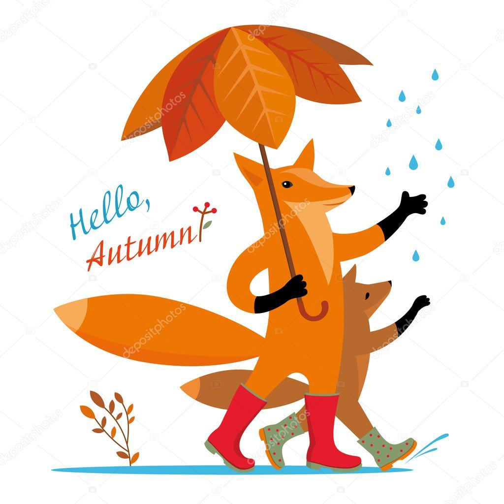 cartoon painted animal mum and baby fox fox greet autumn and