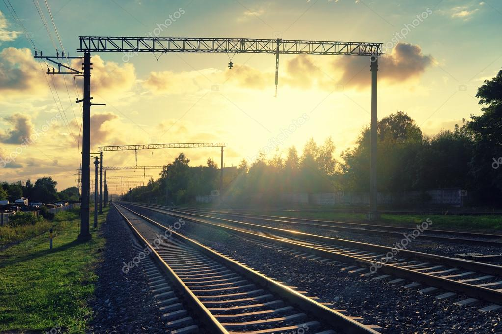 Perspective of railways in the evening yellow light