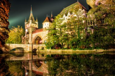 Vajdahunyad castle at the night with lake in Budapest, Hungary
