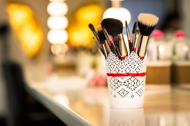 Brushes for make-up pn the table