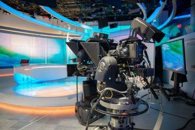 TV NEWS cast studio with camera and light