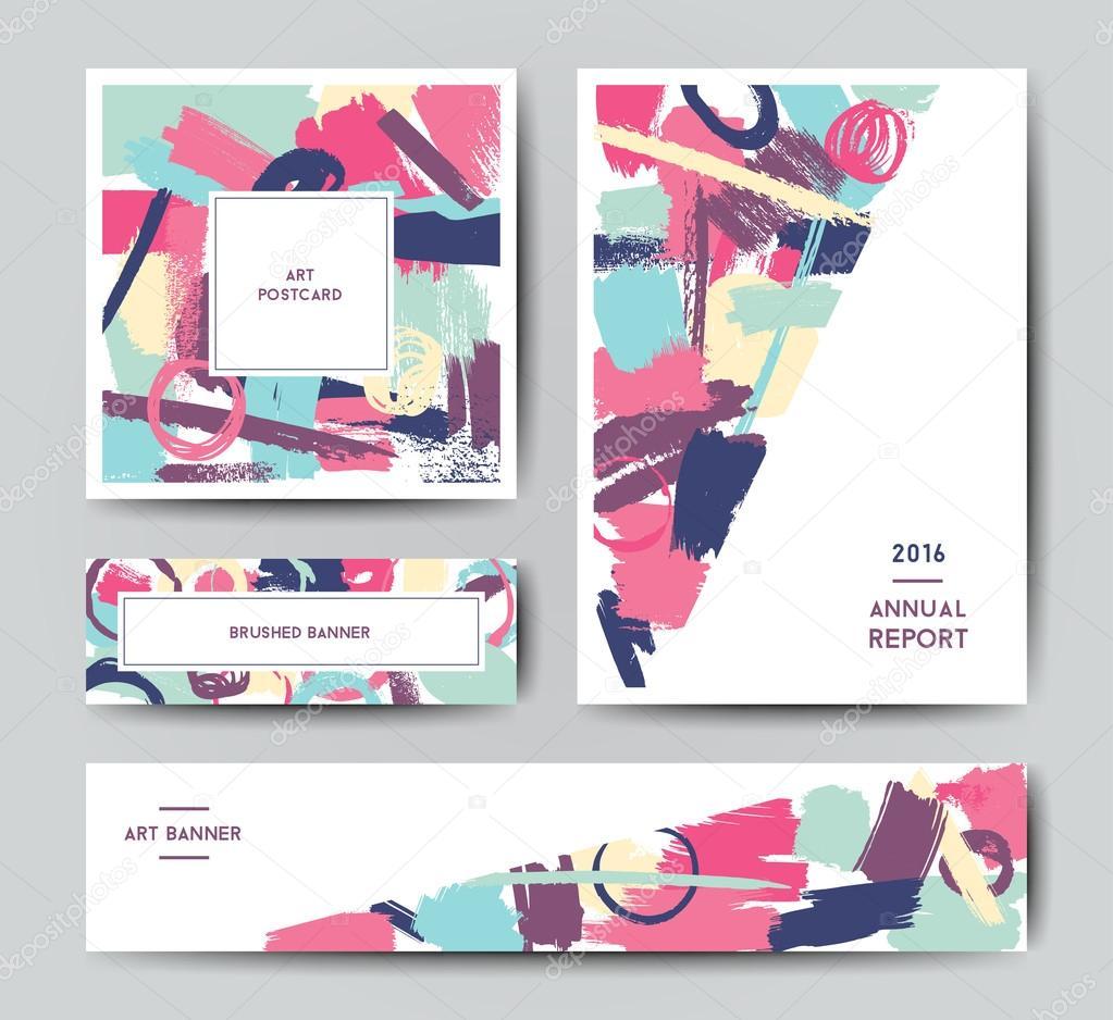 Modernen Grunge Pinsel Postkarte Vorlage — Stockvektor © mooo #106335774