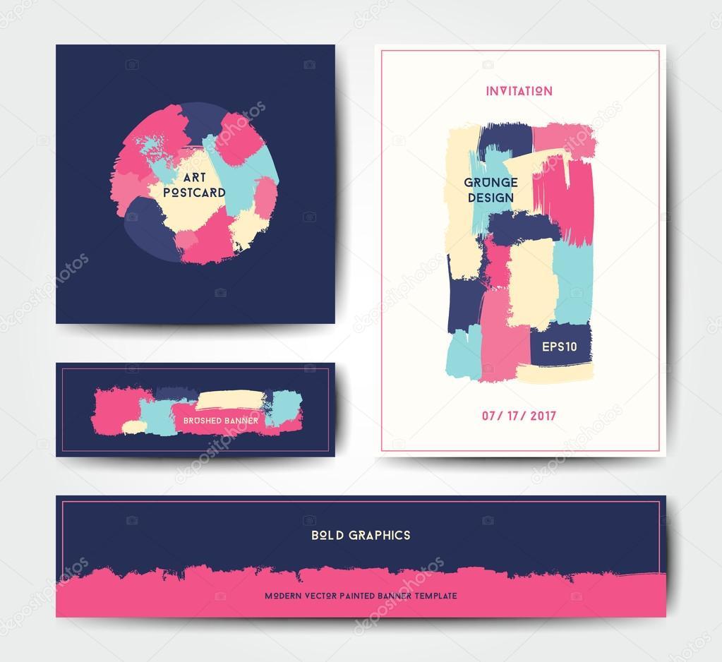 Plantilla de tarjeta postal de cepillo grunge moderno — Vector de ...