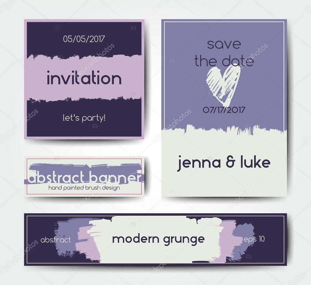 Plantilla de tarjeta postal de cepillo grunge moderno — Archivo ...
