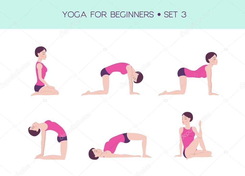 Super Yoga para conjunto básico iniciantes — Vetor de Stock © mooo  VY45