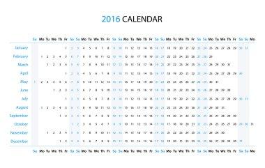 The 2016 linear calendar