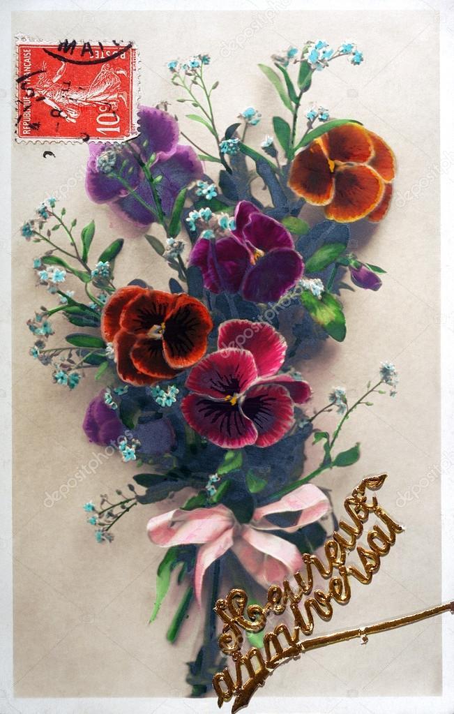 Carte Postale Ancienne De Fleurs Pour Souhaiter Un Joyeux