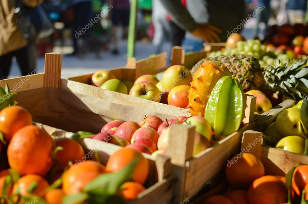 Many Different Fruits At Farmers Market Background Buying