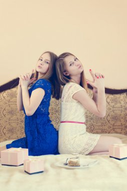 2 beautiful young women funny girls having fun celebrating happy birthday playing together in blue and white dress happy smiling & looking at camera on white bed with pink presents portrait image