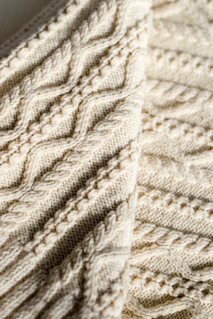 Closeup detalle de artesanía del tejido de punto lana diseño textura ...