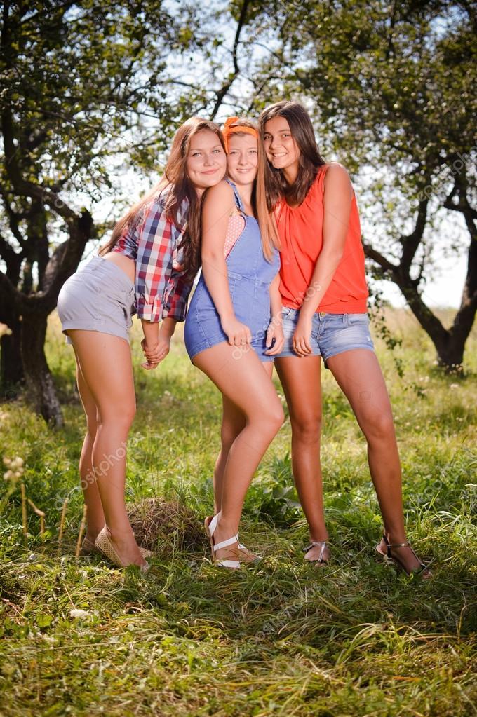 Pretty girls having fun outdoors