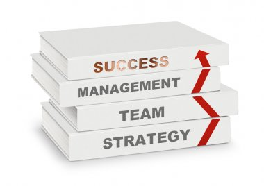 pile of books covered management, team, strategy, success and ar