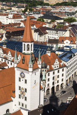 Beautiful super wide-angle sunny aerial view of Munich, Bavaria.