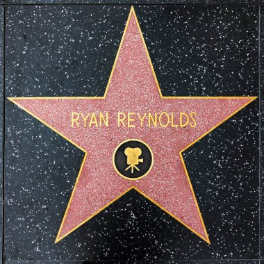 LOS ANGELES, USA - MAR 5, 2019: closeup of Star on the Hollywood Walk of Fame for Ryan Reynolds.