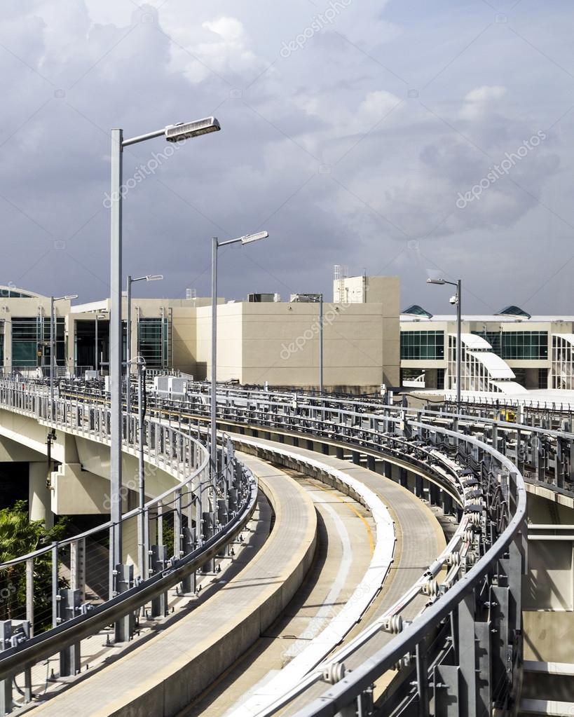 sky train at miami international airport - stock editorial