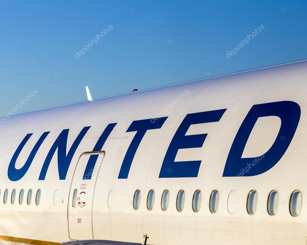 united airlines aircraft logo at an aircraft stock editorial photo
