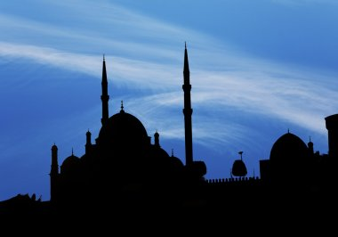 Saladin Citadel in Cairo in dark shadow