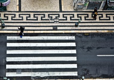 birds view to a crosswalk in the old part of Lisbon, portugal