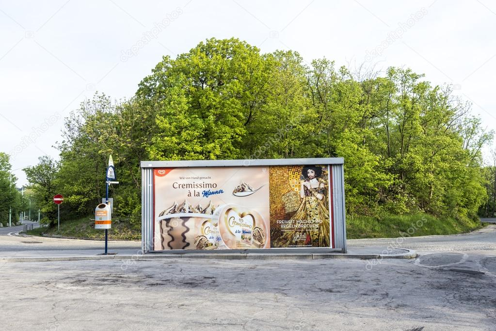 poster at a bus stop, vienna is prepared for the european song c