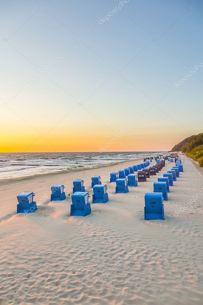 beach chairs in morning light at the beach