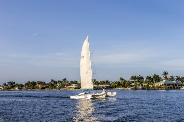 FORT LAUDERDALE, USA - AUG 20, 2014: sailing boat in the canal i