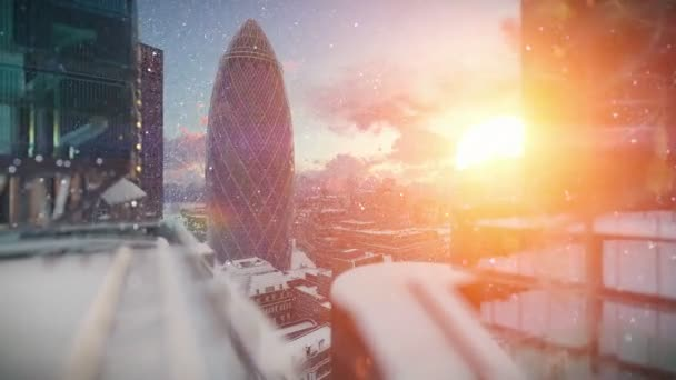 London at sunrise, snowing, Swiss Reinsurance Headquarters, The Gherkin, zoom in