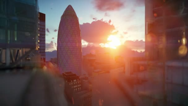London beautiful sunrise over Swiss Reinsurance Headquarters, The Gherkin, camera fly