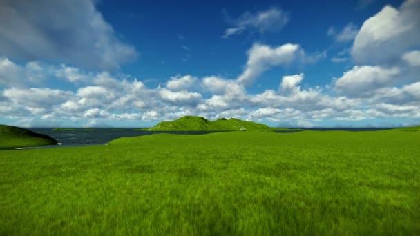Zelené louce a oceánu proti krásné timelapse mraky