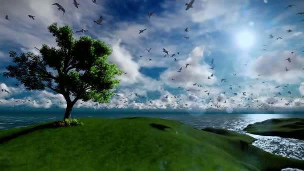 Albero solo sulla collina verde e loceano con i gabbiani che volano, bellissime nuvole pomeriggio