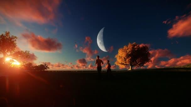 Pár na zelené louce, strom života, krásný západ slunce