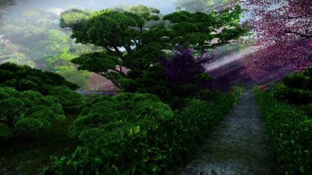 Japonská zahrada na jaře, slunce svítilo mezi stromy, tilt