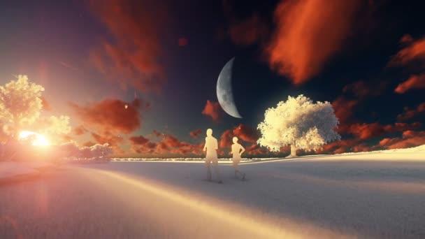 Dvojice běh a strom života, východ slunce v úplňku, neskutečné papíru ilustrace