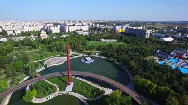 Aerial flight above a park in Bucharest city, Romania