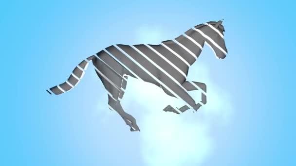 Sliced horse galloping against bright light