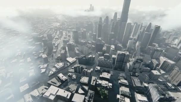 Repülés elárasztott város felett helikopterrel áthaladó felhőkarcolók, 4K.mov