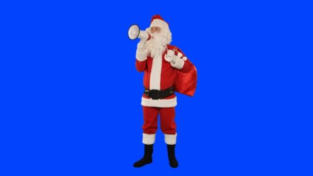 Santa Claus s reproduktorem dělat oznámení, Blue Screen Chromakey