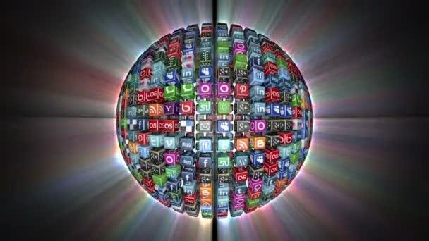 Sociální sítě ikony koule, zářící, černá