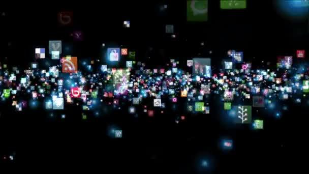 Sociální sítě ikony, zářící, černá