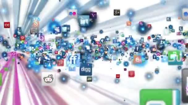 Sociální sítě ikony létat, lesk, bílá